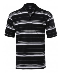 Men's  Basic Short Sleeve Stripe Polo Top (S-3XL)