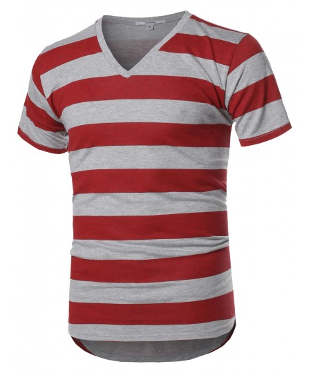 Men's Basic Striped V-Neck Short Sleeve T-Shirt