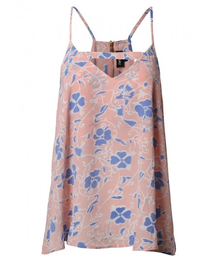 Women's Spring Summer Floral Cut Out Neck Strappy Crepe Blouse Top