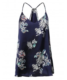 Women's Spring Summer Floral V-Neck Strappy Satin Style Blouse Top