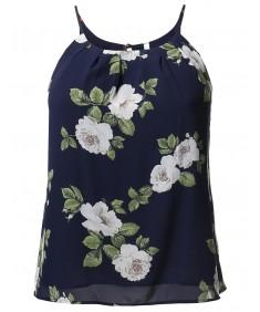 Women's Floral Print Camisole Chiffon Blouse Top