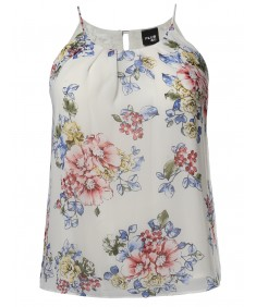 Women's Plus Size Floral Keyhole Back Lined Chiffon Blouse Pleated Top