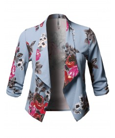 Women's Plus Size Stretch Floral Printed 3/4 Shirring Sleeve Open Blazer
