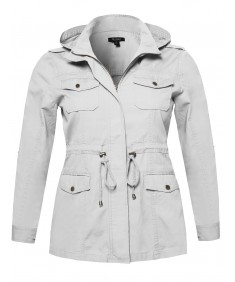 Women's Casual Adjustable Sleeve Anorak Jacket with Detachable Hood