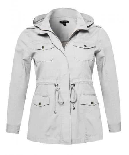 Women's Casual Adjustable Sleeve Anorak Jacket with Detachable Hood