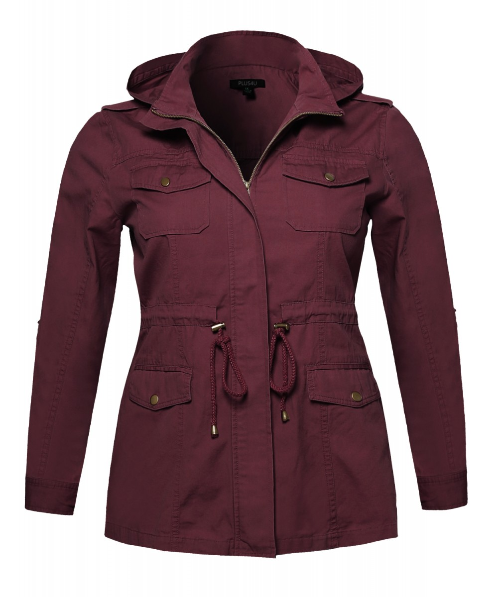 womens casual adjustable sleeve anorak jacket with