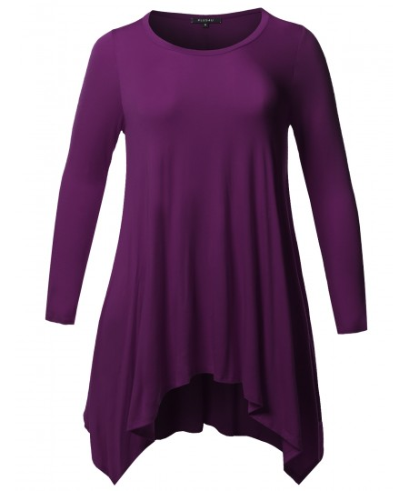 Women's Casual Solid Asymmetric Hem Long Sleeves Tunic Top - MADE in USA