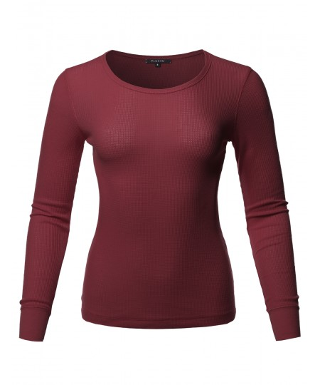 Women's Solid Basic Long Sleeves Crew Neck Thermal Top