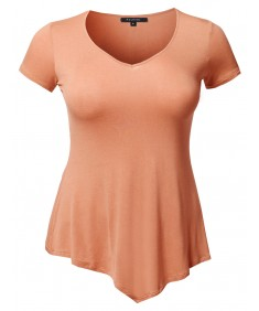 Women's Solid Super Soft Stretch Cap Sleeves Asymmetrical Top Tee Shirt