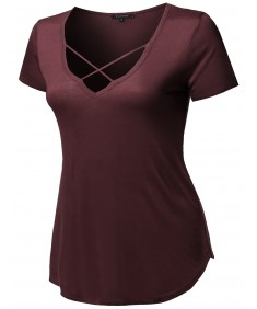 Women's Solid Loose Fit Soft Stretch Strappy V-neck Short Sleeve Tee Top