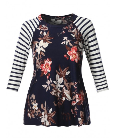 Women's Striped Floral Printed 3/4 Raglan Sleeve Jersey Knit Top - MADE in USA