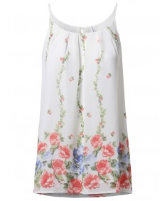 Women's Summer Spaghetti Strap Button Back Pleated Floral Print Top