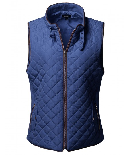Women's Plus Size Solid Quilted Padding Vest with Suede Piping Details