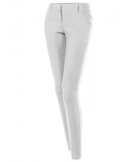 Women's Basic Slim Fit Office Pants Stretchy Full Length