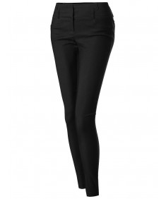 Women's Basic Office Slim Fit Tummy Control Stretch Full Length Pants