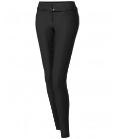 Women's Basic Office Slim Tummy Control Stretch Full Length Belt Pants
