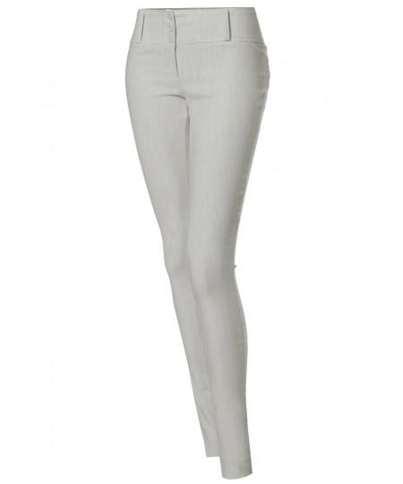 Women's Basic Office Slim Stretchy Full Length Pants