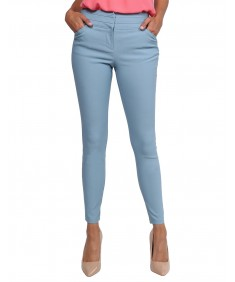 Women's Basic Office Solid Mid Rise Slim Fit Stretch Full Length Pants
