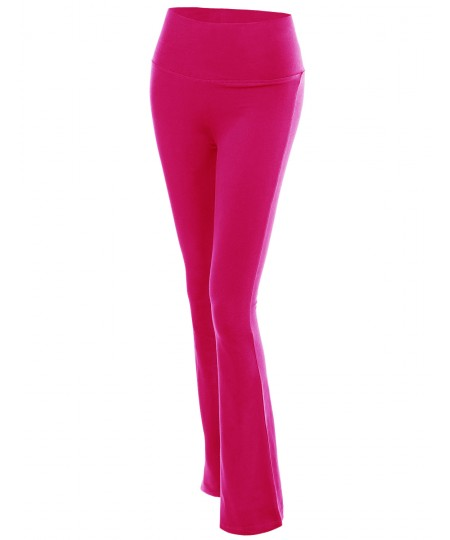 Women's Solid Bootleg Flare Workout Yoga Pants