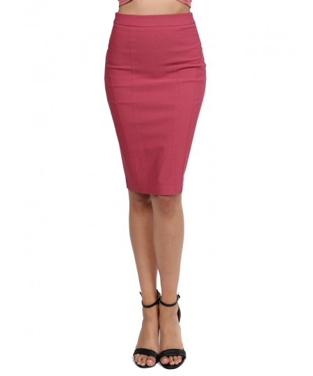 Women's Classic Office Slim Fit Solid Stretchable Midi Pencil Skrit