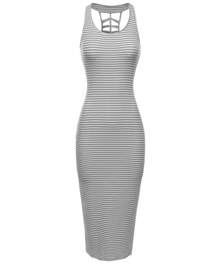 Women's Sleeveless Caged Back Ribbed Casual Maxi Dress