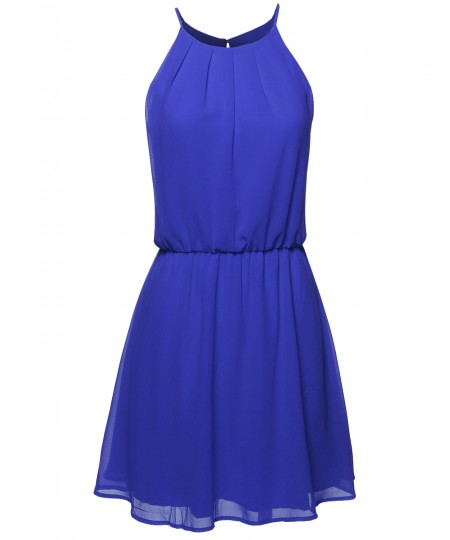 Women's High Neck Pleated Dress w/ Waistband