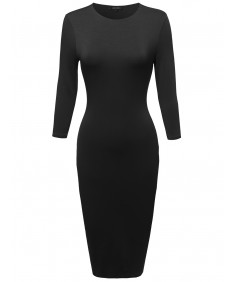 Women's Solid Crew Neckline Midi Dress