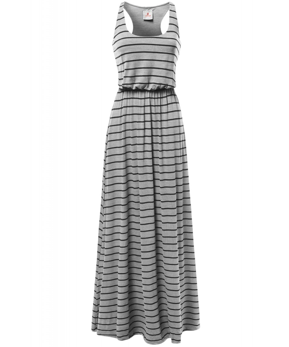 d96c269aef76 Women's Lined Striped Sleeveless Tank Racer-Back Long Maxi Dresses