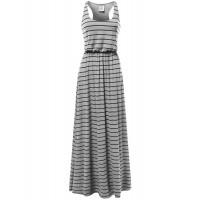 Women's Line Striped Sleeveless Tank Racerback Long Maxi Dresses