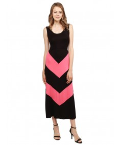 Women's Color Block Striped  Good Stretchy Long Dresses