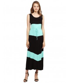 Women's Color Block Striped Good Strech Waist String Maxi Dresses
