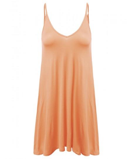 Women's Sleeveless Trapeze Spaghetti Strap Mini Dress