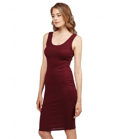 Women's Sleeveless Midi Length Rib Tank Dress