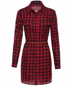 Women's Long Sleeve Button Down Plaid Dress w/Attached Belt