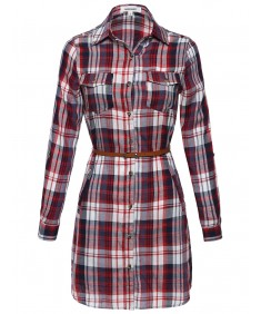 Women's Roll-Up Sleeve Plaid Dress With Belt