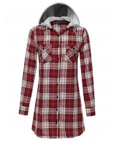 Women's Detachable Hoodie Button-Up Plaid Dress