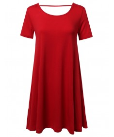 Women's Scoop Neck Shirt Dress With Open Back Cutout