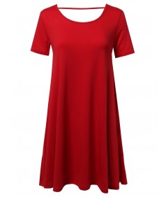 Women's Scoop Neck Shirt Dress With Open Back Cutout
