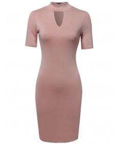Women's Basic Keyhole Cutout Mock Neck Bodycon Dress