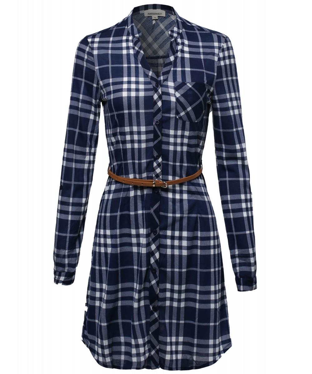 cab246346 Women's Plaid Button Up Shirt Dress With Detachable Faux Leather Belt