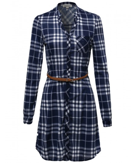Women's Plaid Button Up Shirt Dress With Detachable Faux Leather Belt