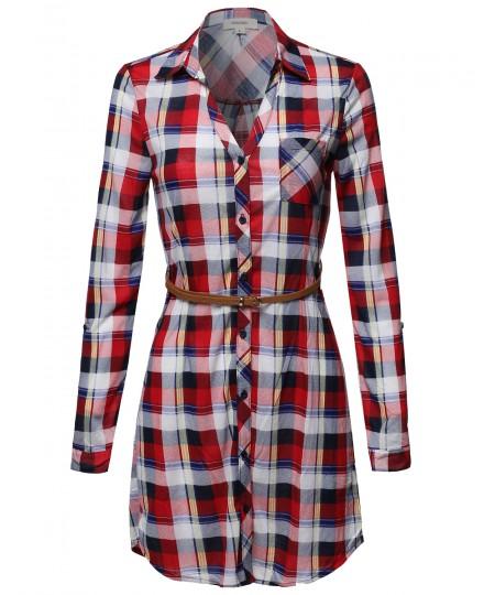 Women's Plaid Button Up Shirt Dress With Detachable Faux Leather Belt
