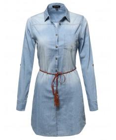 Women's Chambray Denim Shirt Dress With Belt
