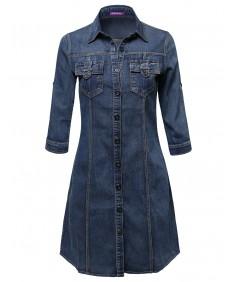 Women's Denim Shirt Dress With 3/4 Sleeves.