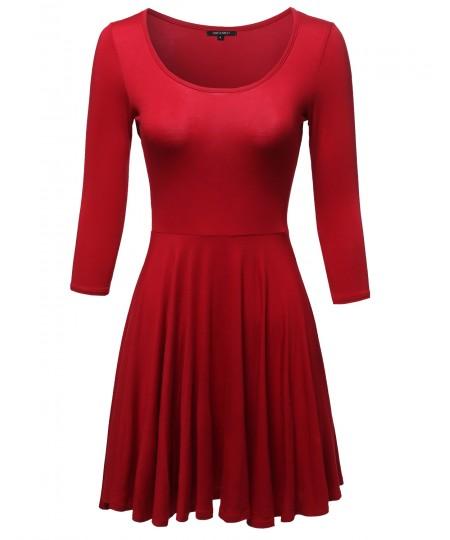 Women's Solid Scoop Neck 3/4 Sleeve Mini Dress