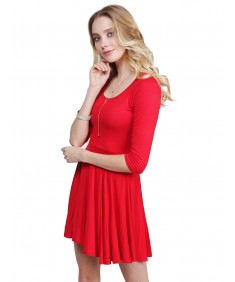Women's Solid Scoop Neck 3/4 Sleeve Mini Dress