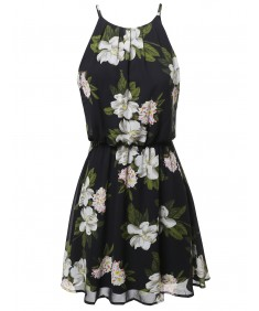 Women's Floral Print Double Layered Mini Dress