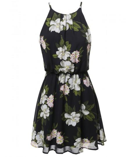Women's Floral Print Double Layered Mini Dress