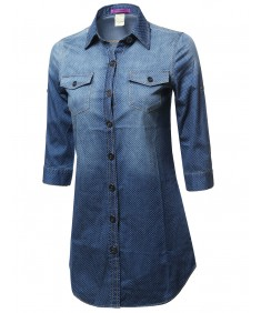 Women's Denim Chambray Button Down Shirt Dress With Polka Dots 3/4 Sleeve