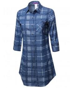 Women's Denim Plaid Button Down Shirt Dress 3/4 Sleeve
